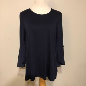 EUC-Michael Kors- Navy Bell Sleeved Blouse-Size XL